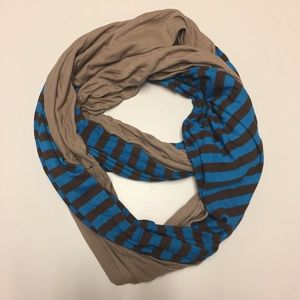 Blue & brown striped infinity loop double scarf